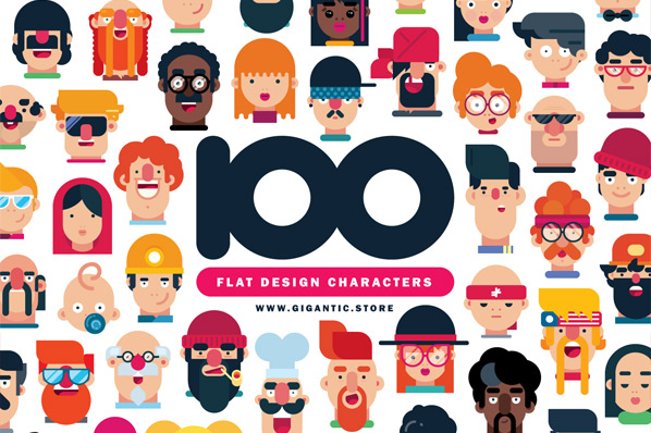 100 Flat Design Characters Gigantic Avatars People Profiles