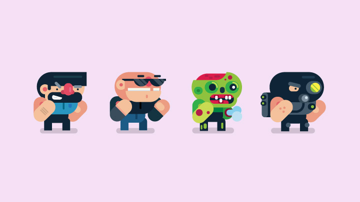 2d video game character animation | gigantic - flat design