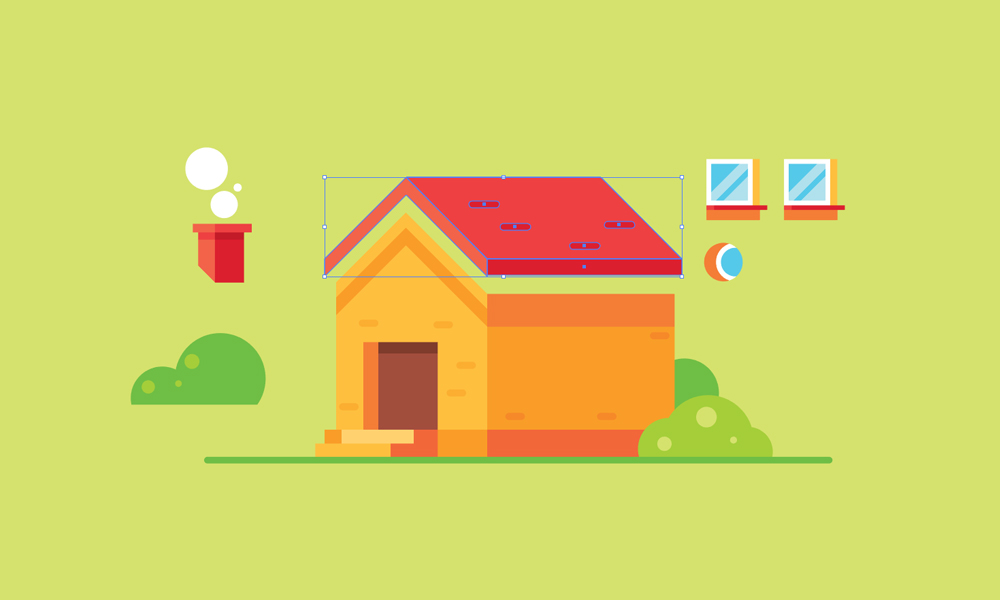 How To Draw A House Gigantic Flat Design Illustration